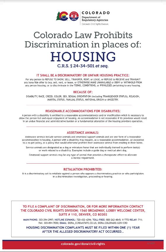 https://www.colorado.gov/pacific/dora/civil-rights/housing-discrimination https://drive.google.com/file/d/0B83TDPp7IaM2WXZaWXNTRTBhSU5vUHRTLUwzbkwwTEVvc3lR/view